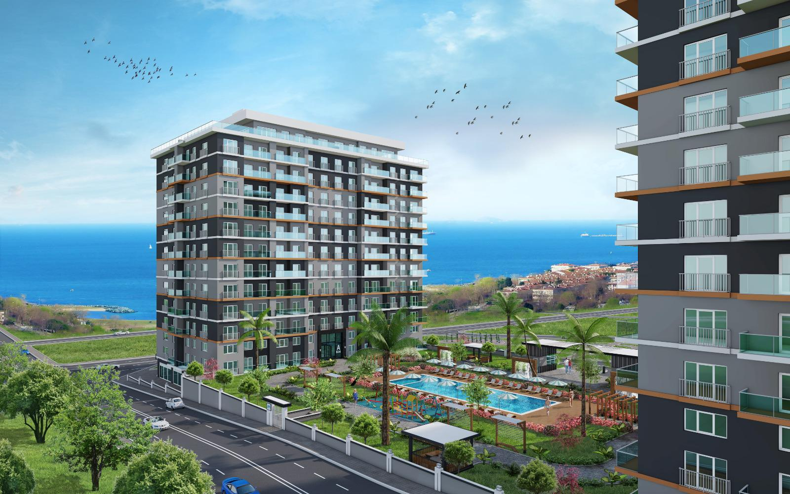 Luxury apartments with sea view suitable for investment in Istanbul Büyükçekmece Kumburgaz